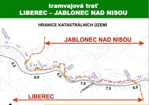 Trasa tramvaje na hranicích okresů. Foto: DPMLJ