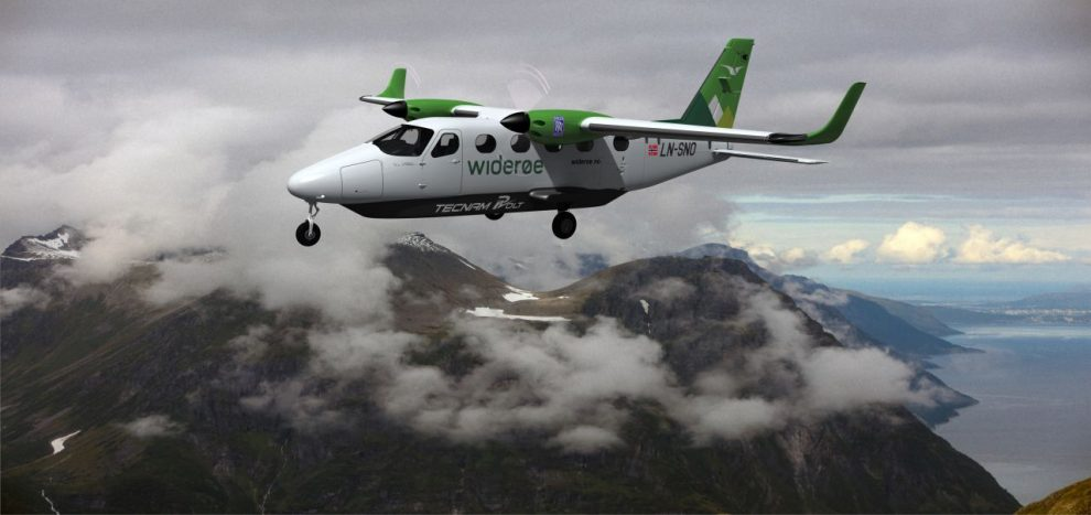 Budoucí elektrické letadlo Tecnam P-Volt v barvách aerolinek Widerøe. Foto: Tecnam