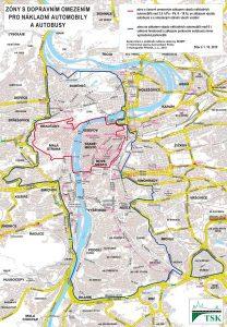 Zóna se zákazem vjezdu pro vozidla nad 3,5 tuny. Pramen: Hl. m. Praha