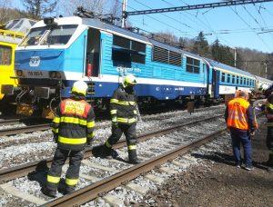 Požár lokomotivy v Hoštejně. Foto: HZS Olomouckého kraje