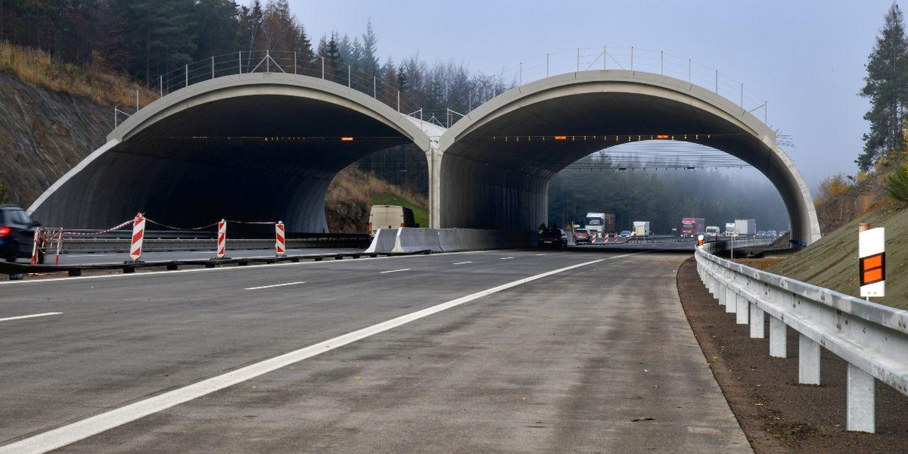 Stavba ekoduktu pro zvěř na D1 mezi Humpolcem a Větrným Jeníkovem. Foto: Skanska