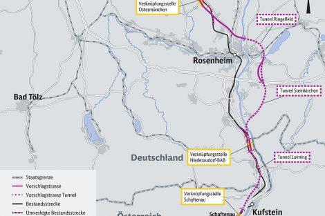 """Vybraná """"fialová"""" varianta příjezdu k severnímu portálu tunelu Brenner. Pramen: DB Netze, ÖBB Infra"""