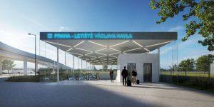 Vizualizace železniční stanice na Letišti Václava Havla. Foto: idhea architekti / Správa železnic