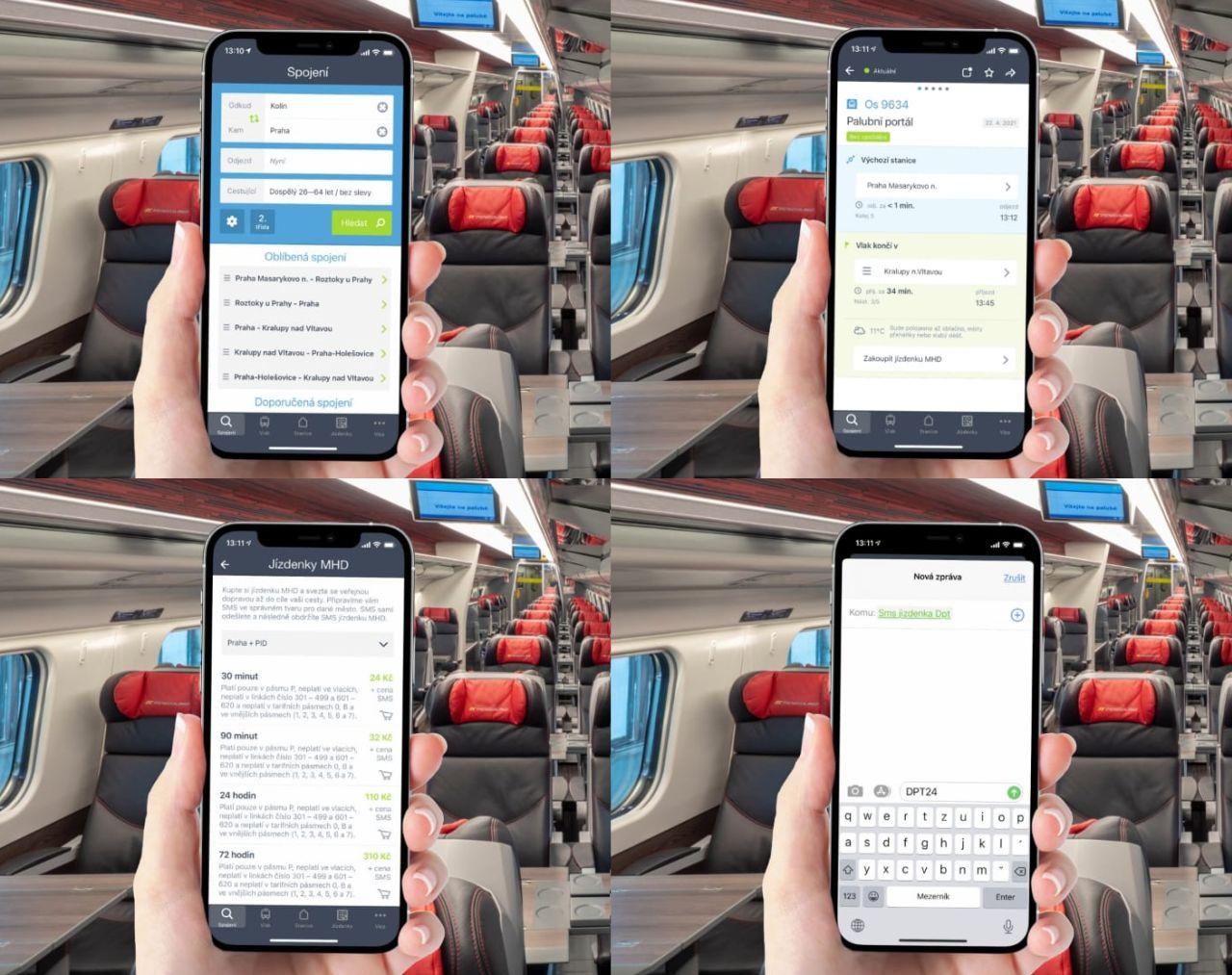 Aplikace Můj vlak a objednání SMS jízdenky. Foto: České dráhy