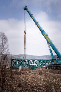 Návoz konstrukce pro Vilémovský viadukt. Foto: Chládek a Tintěra