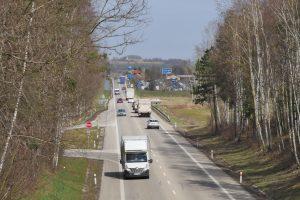 Silnice I/3 na výjezdu z Olbramovic na jih. Pramen: ŘSD