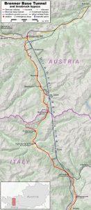 Trasa Brennerského úpatního tunelu. Pramen: Hbf878, https://commons.wikimedia.org/w/index.php?curid=84064673