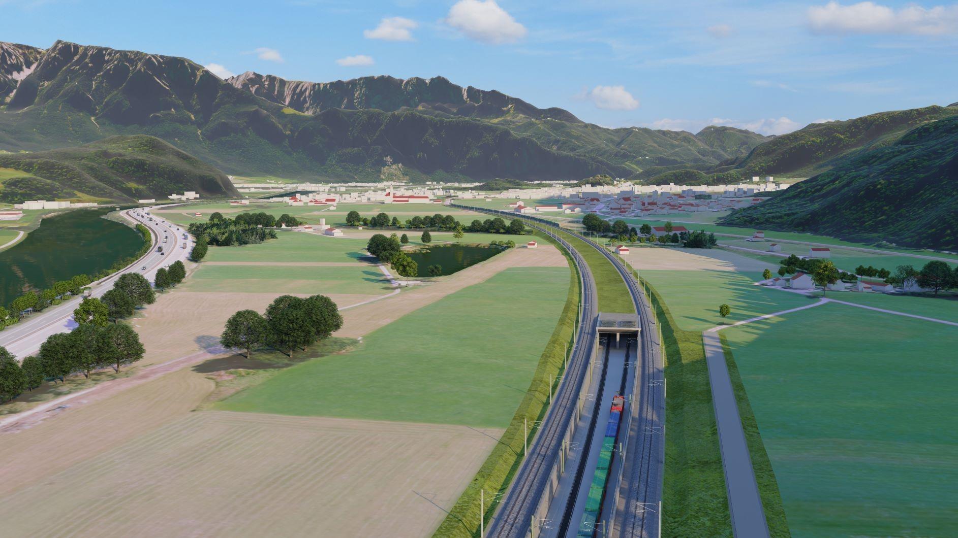 Trať směrem na Brenner povede z většiny v tunelu, vizualizace. Pramen: DB Netze