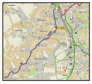 Mapa náhradní autobusové dopravy kvůli omezení v Hanychovské ulici. Foto: Liberec.cz