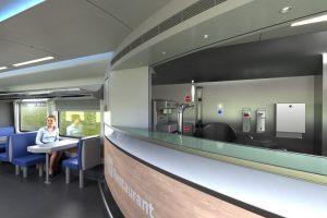 Interiér bistrovozu pro České dráhy pro soupravy na 230 km/h. Foto: Siemens