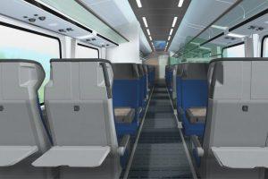 Interiér 2. třídy v nových vozech na 230 km/h pro České dráhy. Foto: Siemens
