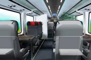 Interiér 1. třídy v nových vozech na 230 km/h pro České dráhy. Foto: Siemens