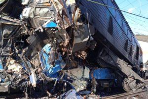 Srážka nákladních vlaků ve stanici Světec. Foto: Hasičský záchranný sbor Ústeckého kraje