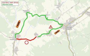 Mapa objízdné trasy pro osobní auta při uzavírce silnice Valašské Klobouky - Vlachovice. Fot: ŘSZK