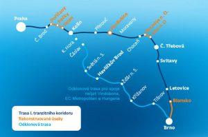 Mapa hlavních omezení na trase Praha - Brno. Foto: ČD