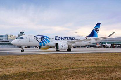 Airbus A220-300 společnosti Egypt Air v Praze. Foto: Letiště Praha