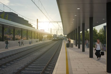 Nová zastávka Praha-Liboc. Vizualizace dh architekti. Pramen: FB Správa železnic
