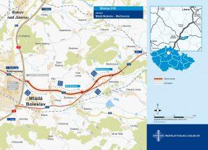 Trasa nové přeložky silnice I/16 z Mladé Boleslavi do Martinovic. Foto: ŘSD