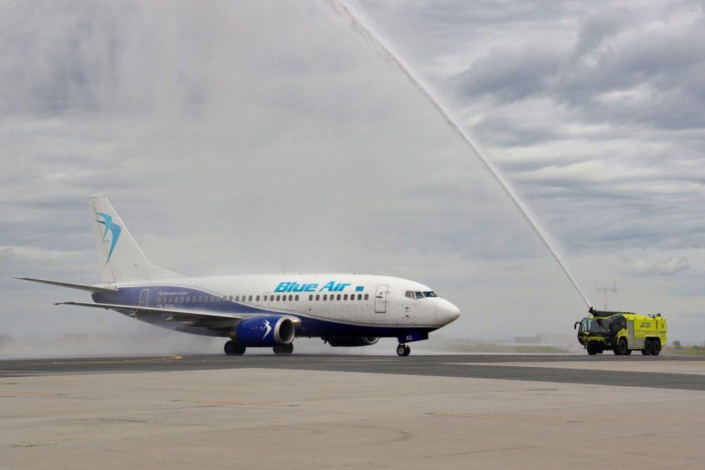 Přílet prvního letu Blue Air do Prahy. Foto: Letiště Praha