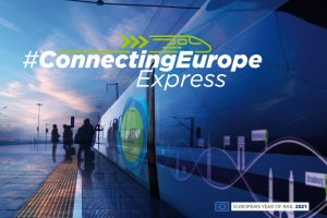 Reklama na Connecting Europe Express. Foto: Evropská unie