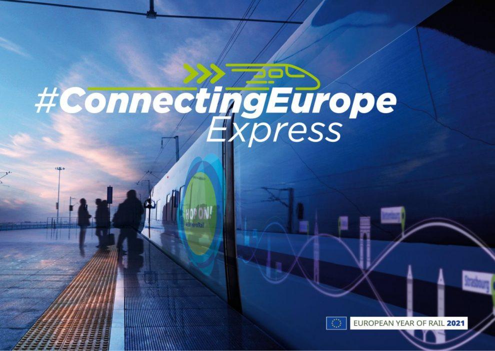 Reklama na Connecting Europe Express. Foto: Evropská unie