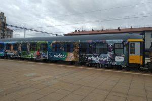 Vagón RegioJetu ve speciálním polepu s reklamou na Chorvatsko. Foto: Bohuslav Škoda