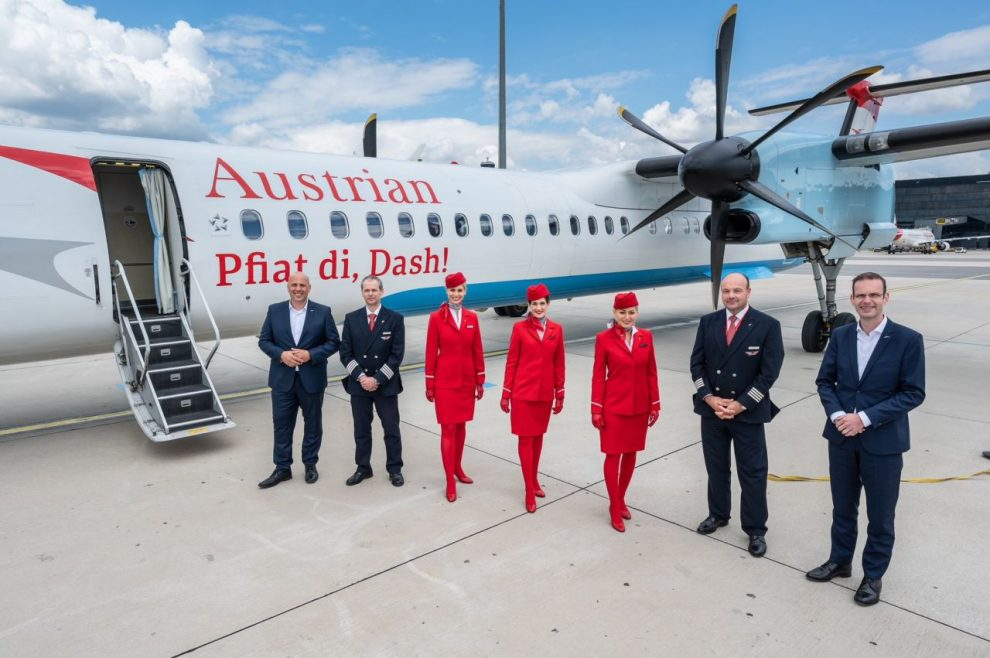 Poslední let letadla Dash8-Q400 pro Austrian. Foto: Austrian