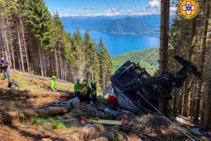 Havárie lanové dráhy Stresa - Mottarone. Foto: Corpo Nazionale Soccorso Alpino e Speleologico