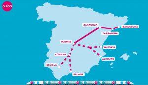 Mapa sítě Ouigo Espaňa včetně plánů na další linky. Foto: Ouigo