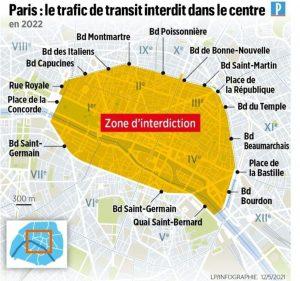 Návrh na zóny omezené dopravy v Paříži. Foto: Paris.fr