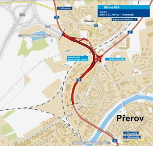 Trasa nové estakády na I/55 v Přerově. Pramen: ŘSD
