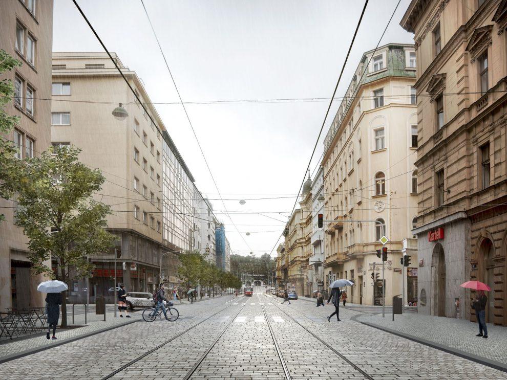 Budoucí podoba Revoluční ulice v Praze. Pramen: IPR