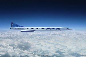Vizualizace letadla Boom Supersonic Overture v barvách United Airlines. Foto: UA