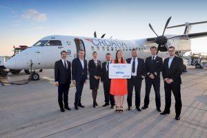 Letadlo letadlo Bombardier Dash 8 společnosti Croatia Airlines v Praze. Pramen: Letiště Praha