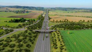 Nový úsek dálnice D4 Milín - Lety, vizualizace. Pramen: ŘSD