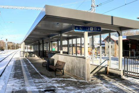Nové nástupiště a podchod ve stanici Pačejov. Pramen: Správa železnic