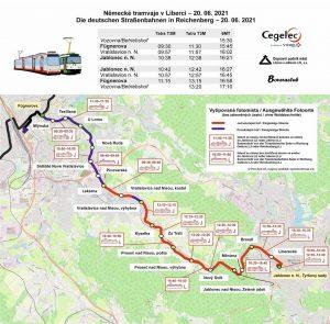 Plánek mimořádných jízd mezi Libercem a Jabloncem nad Nisou.