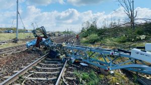 II. koridor a následky tornáda z 24. 6. 2021. Pramen: Správa železnic