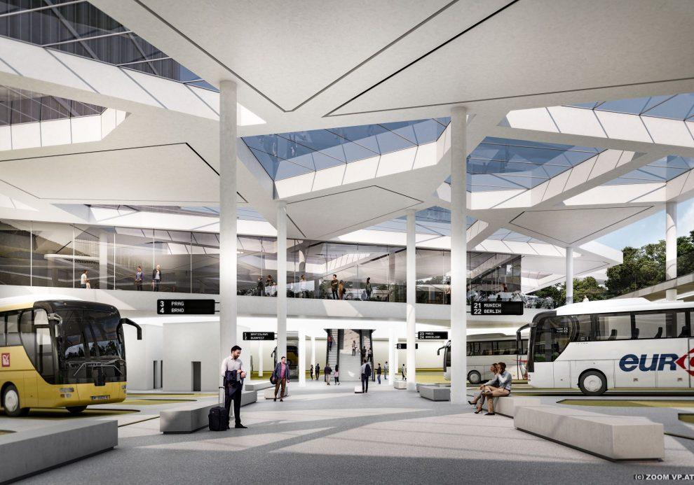 Nový vídeňský terminál pro dálkové autobusy, vizualizace. © ZOOMVPBUD