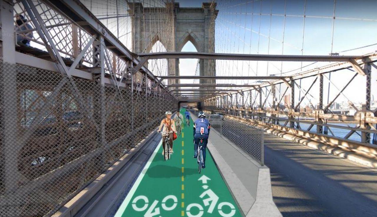 Vizualizace vyhrazených pruhů pro cyklisty na Brooklenském mostě. Foto: NYC.gov