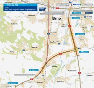 Plánovaná Jižní tangenta (D52) u Brna. Pramen: ŘSD