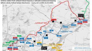 Mapa náhradní autobusové dopravy při výluce Louny - Libochovice. Foto: Ústecký kraj