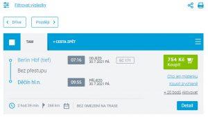 Screenshot rezervačního systému ČD, v kterém byl i ve čtvrtek ráno v prodeji spoj, který nejede.