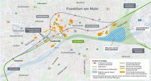Možné trasy pro nový tunel ve Frankfurtu. Foto: DB