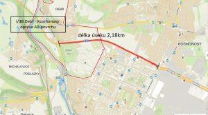 Mapa úseku I/38 v Mladé Boleslavi, který projde opravou. Foto: ŘSD
