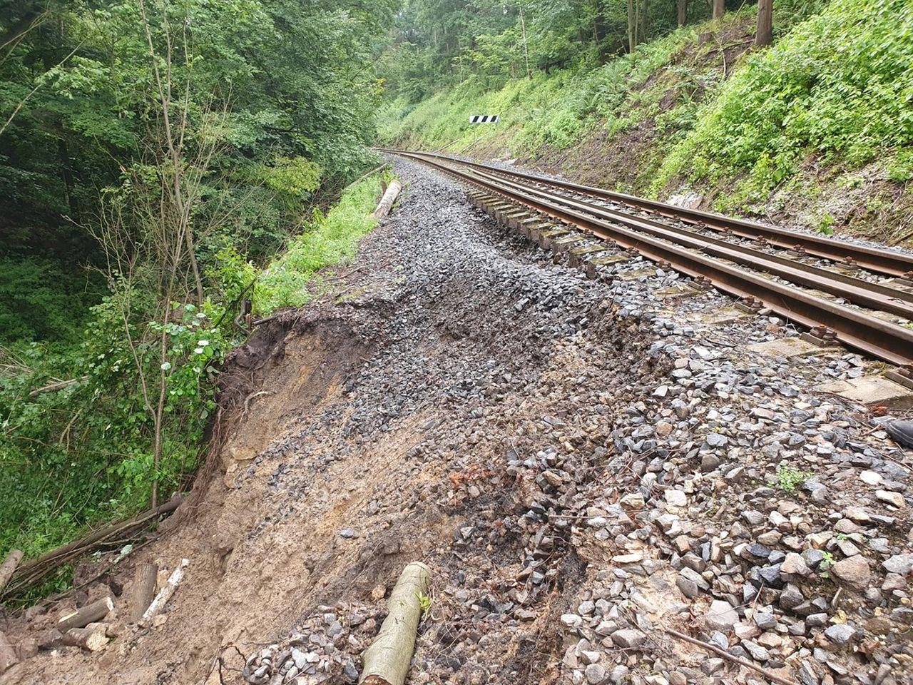 Poškozená trať mezi Skalskem a Mšenem. Foto: Správa železnic