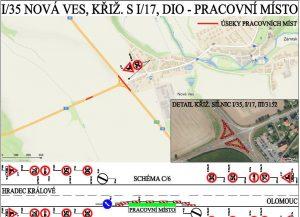 Mapa omezení na silnici I/35. Foto: ŘSD
