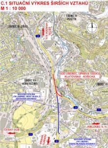 Mapa silnice I/35 a opravovaných úseků v Liberci. Foto: ŘSD