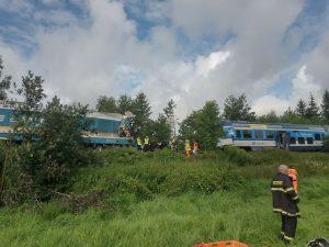 Srážka vlaků u Domažlic. Foto: Drážní inspekce