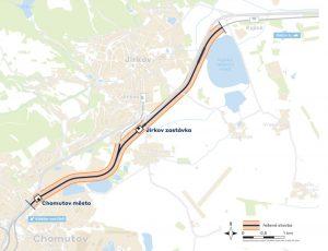 Úsek tratě Chomutov město - Kyjice. Pramen: Správa železnic